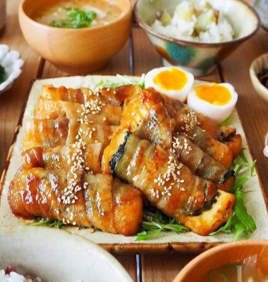 厚揚げと大葉の豚肉巻き照焼きポン酢